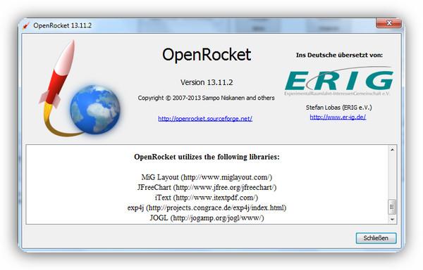 Infofenster von OpenRocket